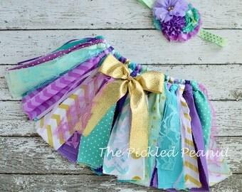 Mermaid Under the Sea 1st First Birthday 2nd Birthday Baby Tutu Headband Gold Purple Mint Aqua Fabric Tutu Glitter Sparkle Cake Smash