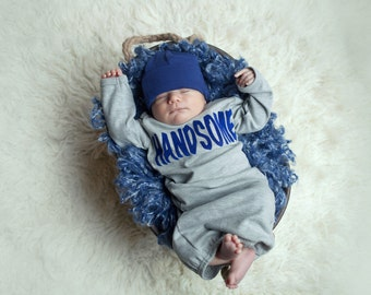Infant Boys Clothes Gray and Navy HANDSOME Hospital Outfit
