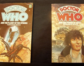 Dr Who And The Planet Of The Spiders + And The Power Of Kroll Paperback book Target Terrance Dicks Vintage doctor who