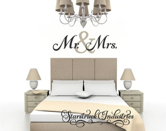 Mr. & Mrs. Wall Decal - Bedroom Wall Quote Perfect for above bed - Wedding Shower Gift Idea - Bedroom Decor Anniversary Gift Idea Wall Art