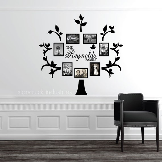 Family Tree Photo Wall personalized last name family tree wall decal photo collage