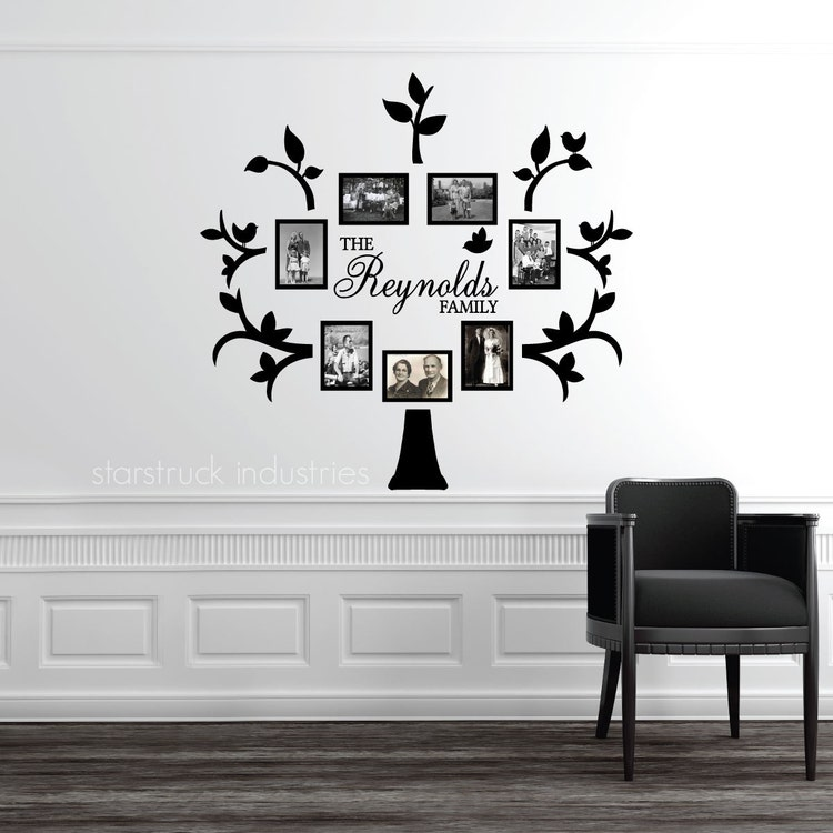Wallverbs Family Tree Personalized Picture Frame Set: Personalized Last Name Family Tree Wall By