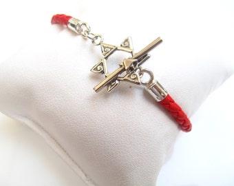 star of David toggle clasp red string kabbalah bracelet leather and silver braided bracelet Jewish symbol