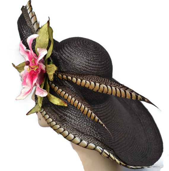 WIDE BRIM Black Panama Straw Hat, Kentucky Derby Hat, Easter Hat