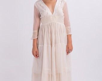 Bohemian wedding dress,Gauze dress,Wedding dress with sleeves,Beach wedding dress,Boho dress,Summer wedding dress,Midi Bridal Wedding Gown