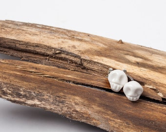 SKULL - Quality cufflinks, porcelain and sterling silver, men jewelry, limited edition
