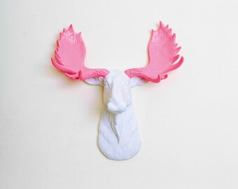 White Faux Taxidermy -The MINI York - White w/Pink Antlers Moose Head Mount - Chic 3D Home Decor & Wall Ornaments by White Faux Taxidermy