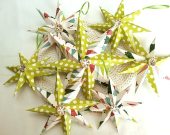 Christmas 3D hanging paper star ornaments in green polka dot and Christmas trees set of 7