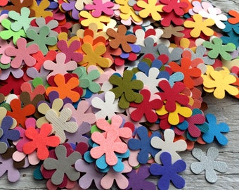 Mini paper flowers confetti daisy die cuts pack of 50 in multiple colors