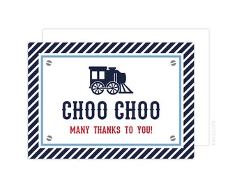 Train Thank You Cards (Train Folded Note Card, Train Engine Thank You Card, Baby Shower Thank You, Train Notecard, Choo Choo Thank You Card)
