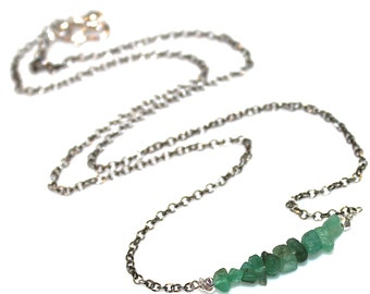 Natural Emerald Necklace Delicate Necklace Emerald Jewelry Everyday Necklace Bar Necklace Minimalist Jewelry Emerald Nugget Everyday Jewelry