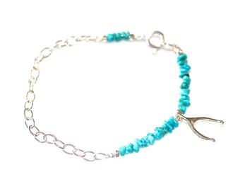 Kingman Turquoise Bracelet Delicate Bracelet Wishbone Bracelet Lucky Bracelet Turquoise Jewelry Silver Bracelet Stacking Bracelet Holiday