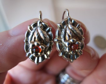 Antique Signed Silver Floral Austrian Biedermeier Style 900 Silver Earrings/ AUSTRIAN Antique Jewelry/ Fine Silver 19th Century