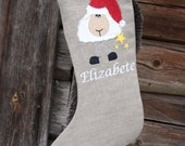 Christmas stockings Personalized burlap linen Embroidered -  Personalized with name