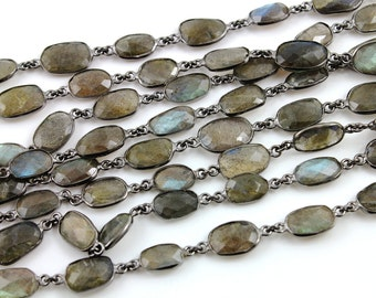 Labradorite Bezel Chain Component, Oxidized Sterling Silver,11X9 mm, Sold By the Foot (GMB-LAB-01)
