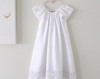 Baby Baptism Dress-Soft White Linen and Lace Long Traditional Christening Gown-Handmade-Children Clothing by Chasing Mini
