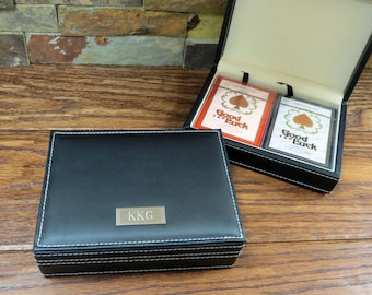 Playing Card Case - Engraved - Personalized - Gifts for Men - Game Night- Groomsmen - Christmas -(807)