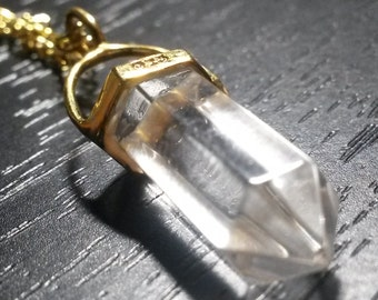 Ultra Clear QUARTZ Crystal Wand point Vermeil 925 Sterling Silver Pendulum Pendant Necklace Double Terminated Gold Vintage Jewelry Gift