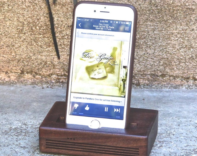 Docking Station, Acoustic Speaker dock for iPhone 6 Plus - CONCERT model in Walnut – Use With or Without a Cover - Amplifies the Sound
