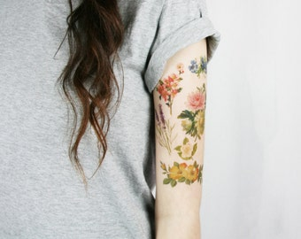 Temporary tattoo sleeve - Vintage Floral Temporary Tattoo sleeve pack - tattoo sleeve - vintage wildflowers temporary tattoo - 6 wildflowers