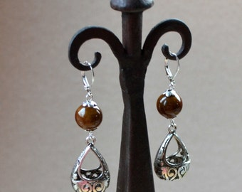 Brown Silver Long Dangle Earrings Boho Chic Cutout Teardrop Hoop Ceramic Beads Bohemian Drop Lever Back Jewelry PaisleyBeading Free Shipping