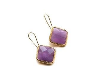 Gold Plated Violet Jade Rhombus Hook Earrings