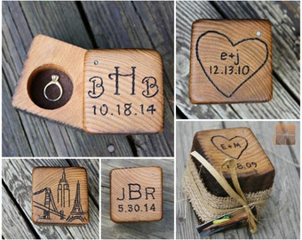 Wood Ring Box - Wedding Gifts- Barn Wedding - Personalized Ring Bearer- Rustic Ring Holder- Unique Engagement Ring Case