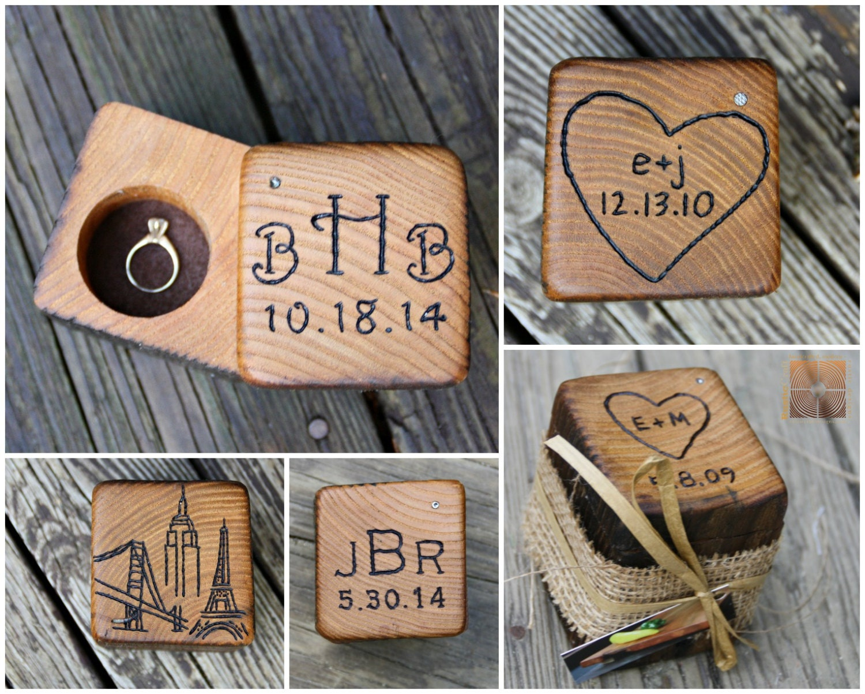 wood ring box wedding gifts barn wedding personalized