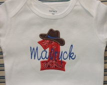 Cowgirl or Cowboy Rodeo Theme First Birthday Personalized Bodysuit 1st (2nd also available)