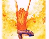 Yoga greeting card tree pose watercolor print