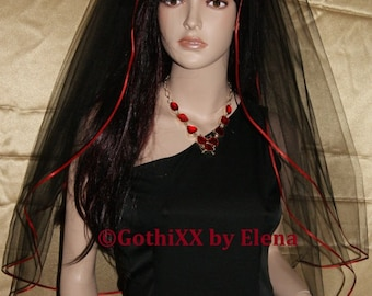 """Gothic Elbow Waist wedding veil Burgundy Black Red Purple Beige Ivory Pink Silver mourning 2 tiers 54"""" width 30"""" 32"""" length  red ribbon edge"""