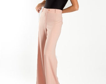 Moschino Pastel Pink Palazzo Pants / High Waisted Pale Pink Designer Trousers / Deadstock Moschino 70s Look / Women's Size Large