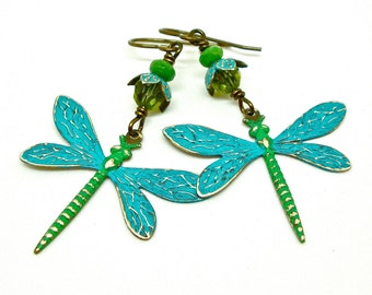 Blue dragonfly earrings, green dragonfly earrings, dragonfly jewelry, nature inspired earrings, summer accessories, metal earrings