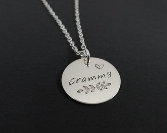 Sterling Silver Grammy Necklace - Gift for Grandma - Hand Stamped Nana Necklace - Grandmother Necklace