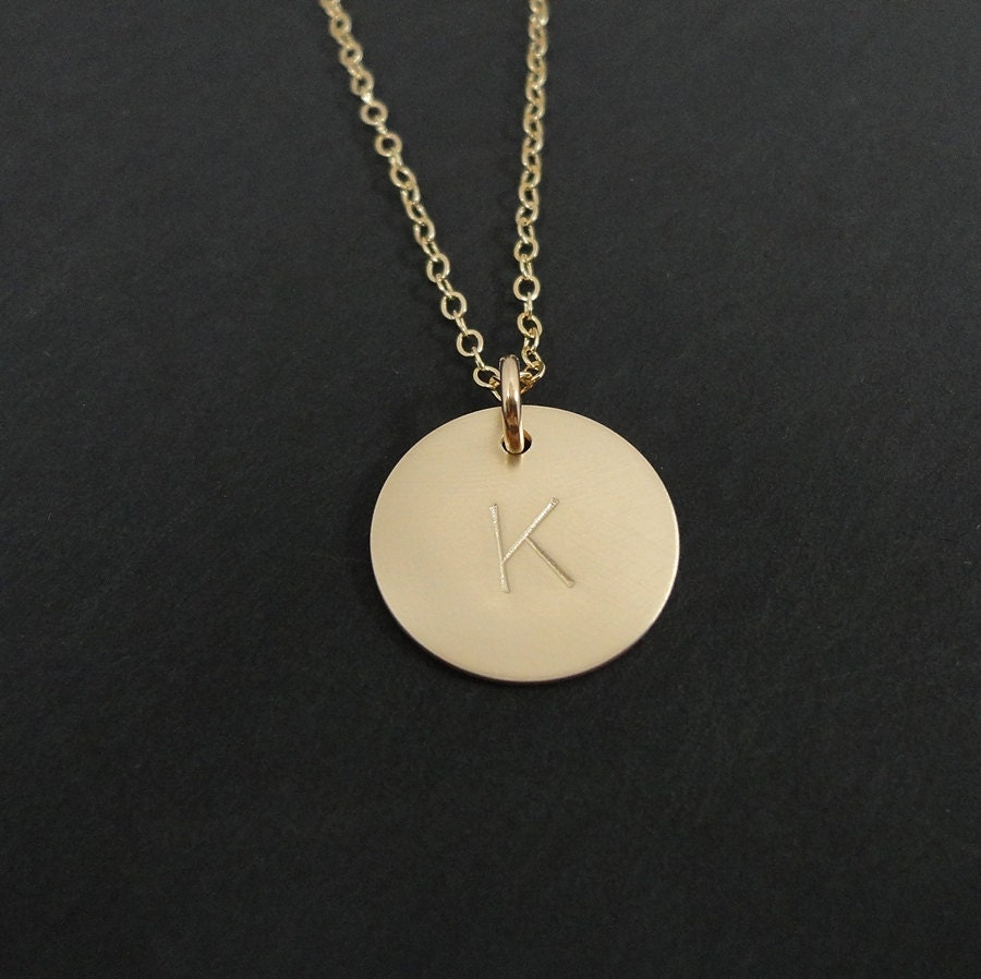 gold filled initial necklace 5 8 disc personalized. Black Bedroom Furniture Sets. Home Design Ideas