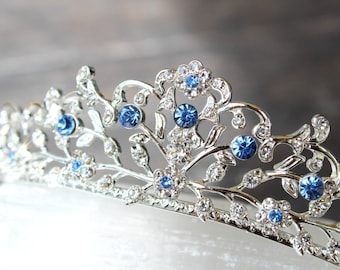 Something Blue Bridal Tiara, Swarovski Crystal Bridal Crown, Blue Tiara, Cinderella Tiara, Bridal Tiara