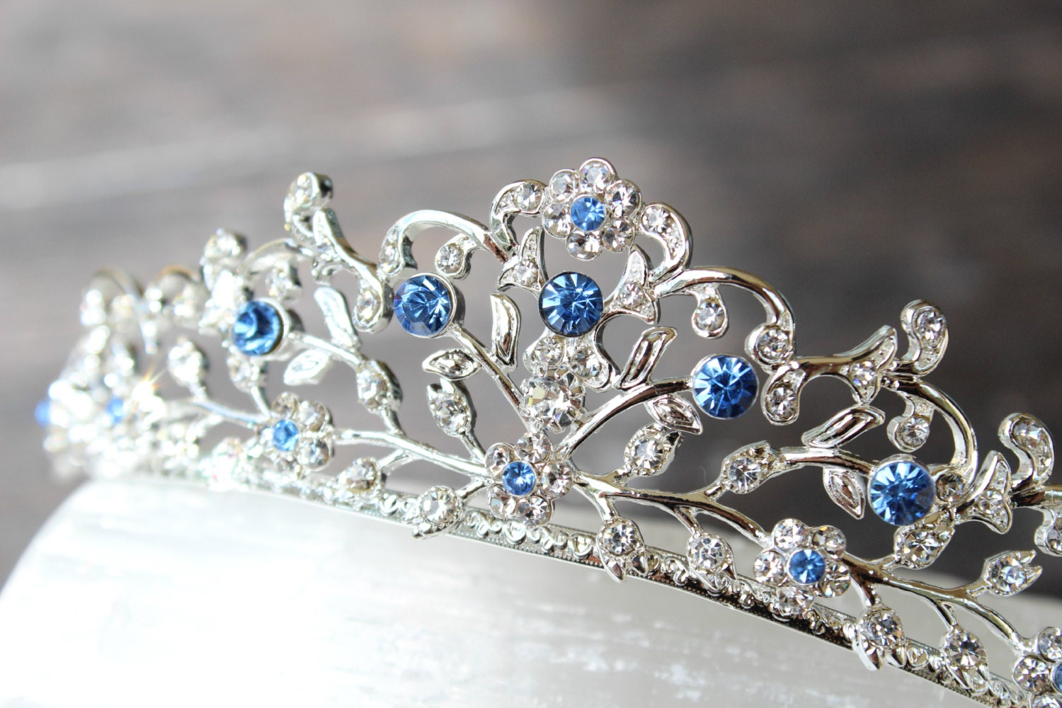 Something Blue Bridal Tiara Swarovski Crystal Bridal Crown