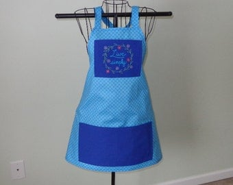 Apron - Full - Blue Print -  Vintage  - Handmade - Embroidered (Live Simply)