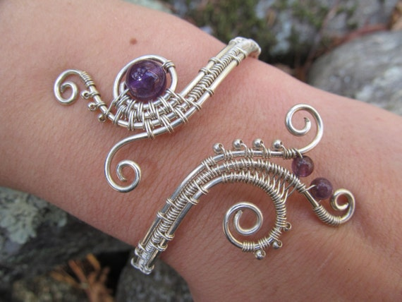 Items Similar To Amethyst Sterling Silver Triple Spiral