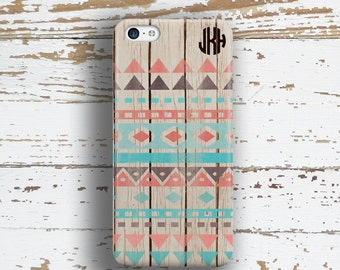 Tribal Iphone 6 case, Aztec Iphone 5c case, Monogram iPhone 5s case, Wood iPhone 6s case, Faux wood Iphone Gray turquoise coral brown (1263P