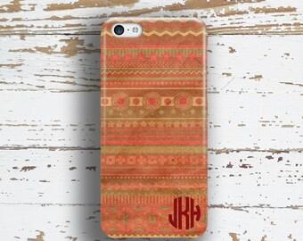 Tribal Iphone case, Aztec Iphone 6 Plus case, Monogram Iphone 5c case, Tribal iPhone 5 case, Cute iPhone 4 case Distressed rust coral (1258P