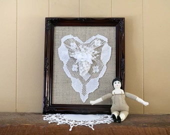 Valentines Day Lace Heart in Frame cottage shabby chic - wall decor vinage lace with burlap and upcycled frame