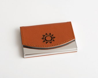 Business Card Holder, Corporate Gift, Engraved, Leather Business Card Case, Personalized, Custom, Engraved, Leather Card Case