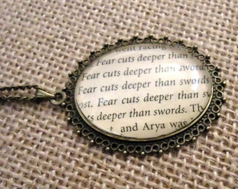 Game of Thrones Fear Cuts Deeper than Swords Book Page Necklace - Arya Stark
