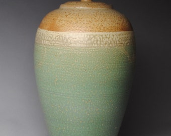 Clay Covered Jar  Green and Taffy  Handmade K85