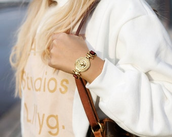 Burgundy Leather with Lion bracelet