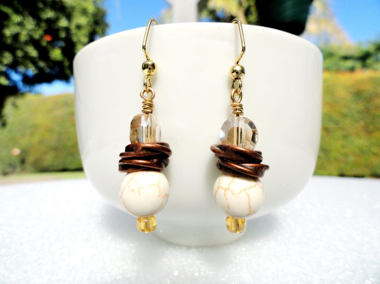 Gold Dangle Earrings Simple Drop Earrings White Howlite