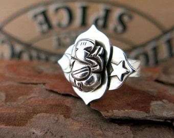 Ganesha ring, ganesh ring, silver ganesh ring, cresecent moon, star ring