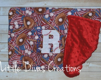 Personalized Baseball blanket with Minky backing