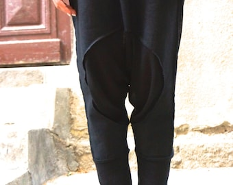 NEW SS/15 Loose Casual  Black Drop Crotch Linen Knit Harem Pants / Extravagant Black Pants by AAKASHA_A05167